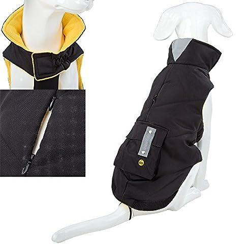 Luxury Warm Padded Pet Dog Outdoor Waterproof Coat/Jacket (Black (L)