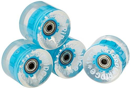 Ridge Ruote LED Luminosi Morbide  per Mini Cruiser Skateboards 59 mm 78A Pu W Abec 7 Cuscinetti Set di 4, Blu