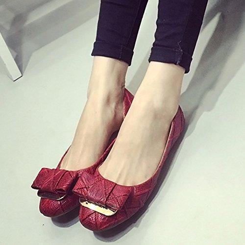 WYMBS Les nouvelles chaussures pour femmes peu profondes boutonnées bow bouche talons plats chaussures plates des femmes Red