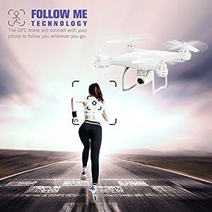 Potensic - Drone GPS con Cámara 1080P HD, 120º Gran Angular, Blanco (T25)