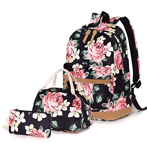 FEWOFJ Rucksäcke Schule Casual Canvas Schulrucksack + Kühltasche + Federmäppchen für Mädchen/Damen - Groß Blumen