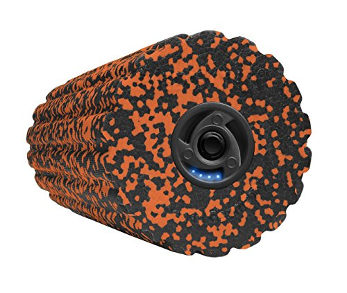 Medisana PowerRoll Soft, Faszienrolle mit Tiefenvibration, 4 Intensitätsstufen Massagerolle, schwarz/Orange, 15,5 x 15,5 x 36,5 cm