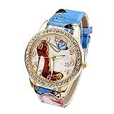 JSDDE Uhren,Oktoberfest Vintage Damen Strass Armbanduhr Schuhe mit hohem Absatz Muster Analog Quarzuhr Retro Uhr(Blau)