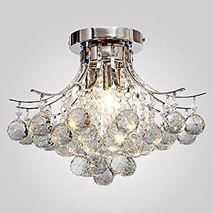 Modern K9 Crystal Chandelier 3 light?Chrome?,Mini Style, Flush Mount, Ceiling Light Fixture for , Dining Room, Bedroom, Living Room