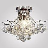 """LOCO LAMP finitura cromata lampadario di cristallo L16 """"X W16"""" X H11 """"con 3 luci, mini Stile montaggio a filo della luce di soffitto Apparecchio per lo studio camera / Ufficio, Sala da pranzo, camera da letto, Soggiorno"""
