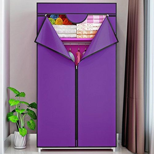 MMM& Modernes Armoires Simple Petite Acier Tube Renforcé Toile Epaissante Penderie Portable Étudiant Armoire (couleur : Violet)