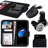 """Asus Zenfone 4 Selfie Pro ZD552KL (5.5"""") - Fall Super-Essentials Pack Clamp Frühlings-Art PU-Leder-Mappe + Dual Einschuss Charger + Micro-USB-1 Meter flache Datenkabel - Black"""
