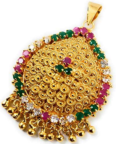 SUKRA GOLD 1 Gram Micro Gold Plated Fashion Jewellery South Indian Traditional Ruby Emerald AD Handcrafted Changeable Pendant Dollar for Women & Girls (Ruby & White) (Multi-Color)