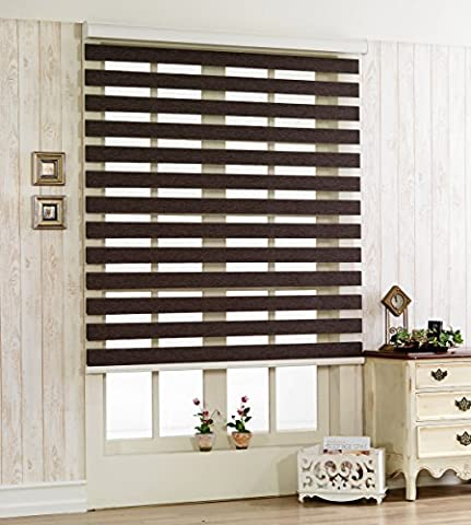Store enrouleur occultant à rayures horizontales 260x 260cm, polyester & polyester mélangé, chocolat, W70 x H180 (CM)