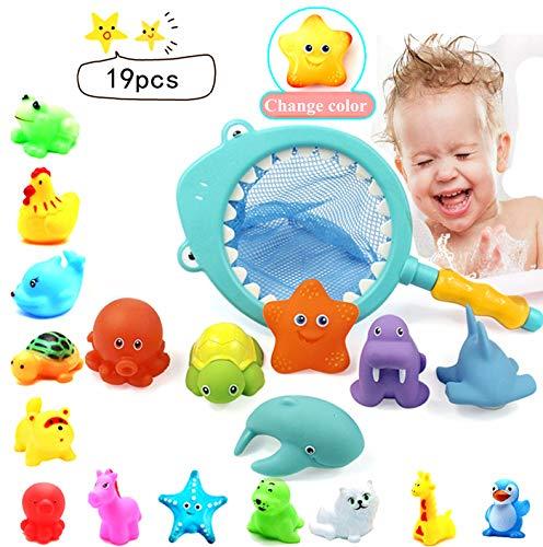Juguetes Baño Bebe 19PCS,Juguetes Animados con Sonidos y Squirting,uguetes de baño flotante con Juegos de pesca para niños Redes de Pesca para Agua Piscina bañera Baño Regalo de cumpleaños