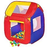 TecTake Kinderspielzelt Pop Up Spielhaus Kinderzelt mit Bällebad 200 Stück