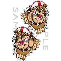 Totally Graphics Pair 180 PK Metal Rip Open Torn Bulldog St George Flag Car Sticker