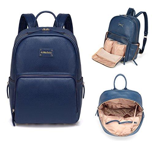 AMB Multifunktions-Rucksack, modisch, praktisch, aus PU-Leder, für Baby-Windeln, Wickeltasche mit Wickelunterlage -