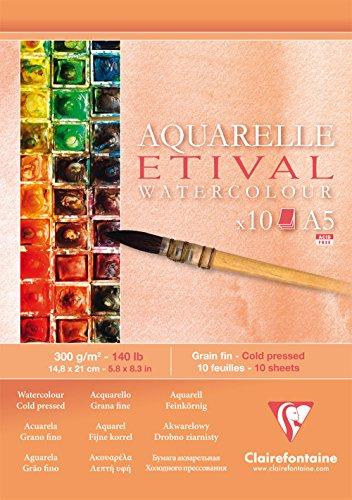 Clairefontaine Etival kaltgepresster Zeichenblock für Aquarellmalerei, weiß, A5, 300g