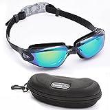 Bezzee-Pro gafas de nado con estuche de protección recomendadas para adultos - Protección UV- Lentes espejo, color - anti-niebla y anti-ruptura - sin filtraciones - sin deslumbramiento - visión clara - Azul / Negro