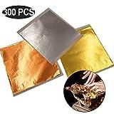 Yontree 300 Blätter Blattgold zum Basteln 14x14 Zentimeter Goldfolie Goldpapier für Kunst Handwerk Basteln Dekoration Möbel(gold, Silber, Roségold)