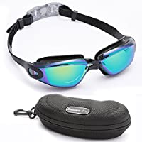 Adult Swimming Goggles Professional Swimming Glasses by Bezzee Pro–Coloured Mirror Lenses, Anti-Fog Waterproof Protection High Quality Leather Case/Protective Case, Nose Clip and Ear Plugs Silicone Eye Cups