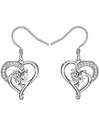 """Boucles d'oreilles, J.Rosée Argent 925, 5A zircon Cadeau Parfait avec Paquet Exquis""""L'Ange gardien"""""""" Cadeau Saint Valentin"""""""