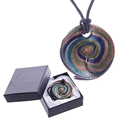 Blue & Green Spiral Abstract Glass Necklace with Gift Box