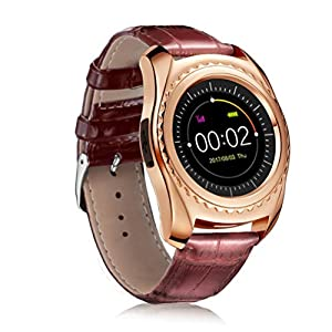 VENMO Round Face Touch Screen Blood Pressure Heart Rate Monitor Camera Smart Watch For Android 3.0 Above Waterproof Mens Sports Wrist Watch with Leather Strap