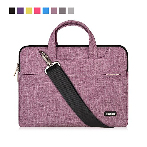 Qishare 11,6-12 Pulgadas Multifuncional portátil Hombro Bolsa maletín portátil de Ordenador portátil Caso Portador de la Ordenador portátil Messenger Caso(11,6-12 Pulgadas,Líneas púrpuras)