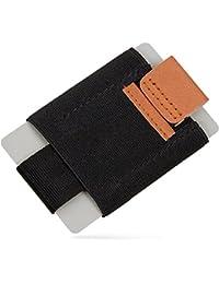 SWISSONA tarjetero de material sintético elástico y cuero auténtico   con 2 años de garantía de satisfacción   portatarjetas, estuche para tarjetas, cartera mini, billetera, monedero