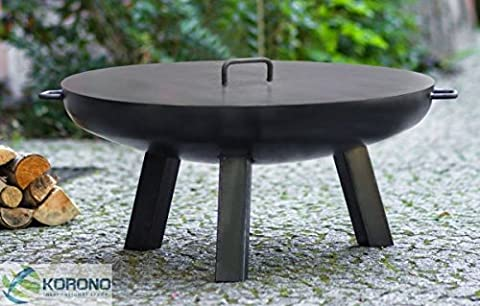 Korono FIRE PIT, Fire Bowl with Handle and Lid 80cm on 3legs–Fire   Portable Grill   Lighting