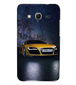 Printvisa Sporty Yellow Audi Back Case Cover for Samsung Galaxy Core Prime G360