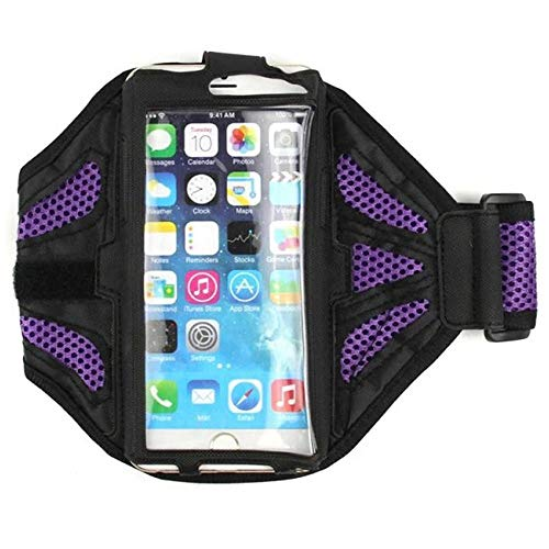 Fitness-Armband Jogging Oberarm passend für Samsung Galaxy A51, A60, A90, M20 Sport Oberarm Joggen Oberarm Tasche Wasserfest Arrow Groß Lila