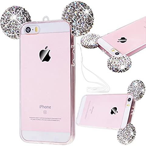 iPhone SE Case, iPhone 5S Cover, iPhone 5 Case, GrandEver Soft Bumper Silicone TPU Back Cover, iPhone SE Transparent Clear Cover Mouse Ear Design, iPhone 5S Rhinestone 3D Diamond Bling Sparkle Shiny Pattern, Apple Cell Phone Accessory with Hand Strap Kits Scratch-Proof Protective Shell for iPhone SE/5S/5 --- Silver
