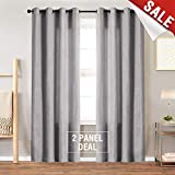 Grey Luxry Velvet Curtains 95 inch Long for Bedroom Thermal Insulated & Moderate Window Curtain for Living Room, Grommet Single Width