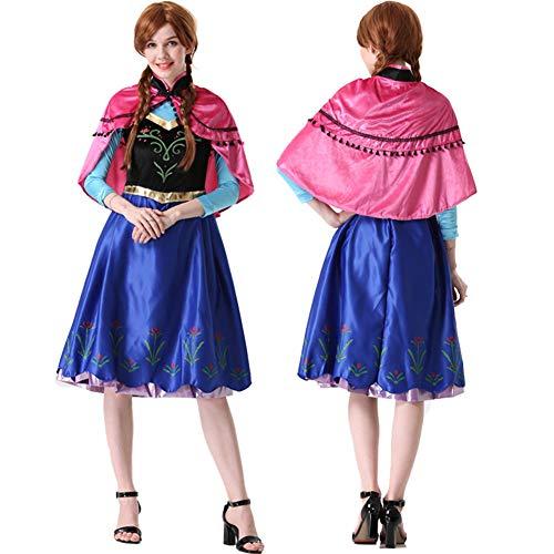 Yeming5704 Die Eiskönigin Frozen Anna ELSA Cosplay Kostüm Halloween Karneval Prinzessinenkleid Damen