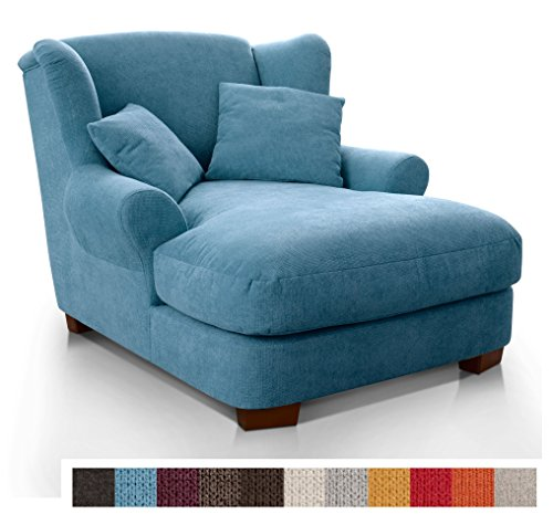 CAVADORE XXL-Sessel Oasis / Großer Polstersessel im modernen Design / Inkl. 2 schöne Zierkissen / 120 x 99 x 145 / Hellblau