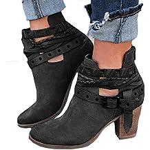 ZODOF Moda Mujer Invierno Botines Chelsea Tacón Alto Tobillo Botas Señoras Plataforma Zapatos Altos Talones Otoño