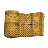Handcraftd Double Bed Size Jaipuri AC Quilt Razai with Gold Prints Printed Double Bed Quilt/AC Quilt/Razai Winter Quilt, Jaipuri Razai-Yellow
