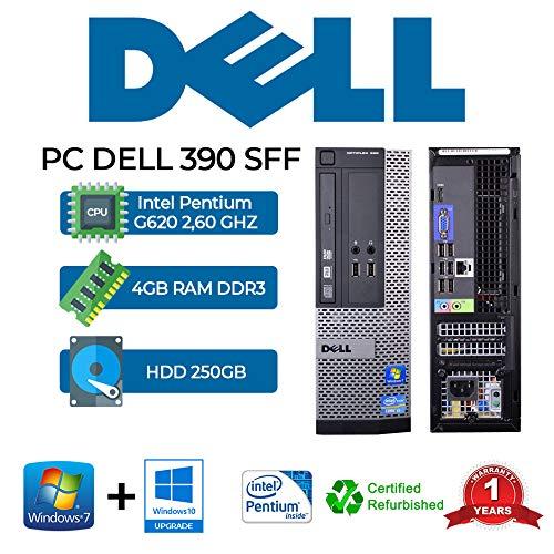 PC DELL 390 SFF Intel PENTIUM G620 2.60 GHZ/4GB/250GB/DVD/WIN 10 Pro (Reacondicionado)