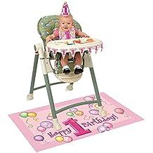 Unique Party -  Kit de Decoración de Silla Alta - Fiesta de Globos Rosas de Primer Cumpleaños (23907)
