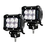 Faros de Trabajo Led,JieHe 2PCS 18W Luces Trabajo Led Flood LED Light Bar Montaje de luces de antiniebla IP67 Impermeable para Off-Road, Camión,Coche, ATV, SUV, Barco 1800 Lumens