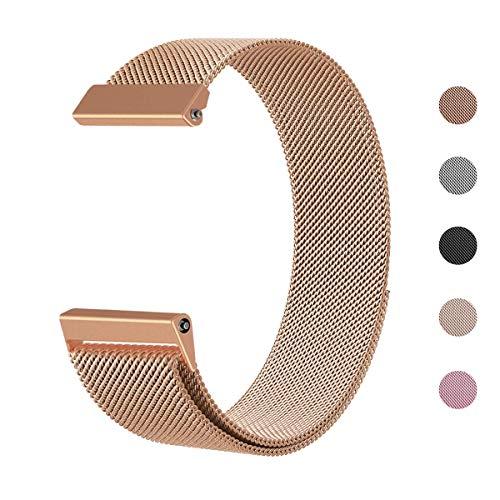 Yooger Kompatibel für Fitbit Versa Armband, Milanese-Schlaufe Edelstahl-Ersatzarmband mit einzigartigem Magnetverschluss-Zubehör Armbändern (Roségold, Klein)