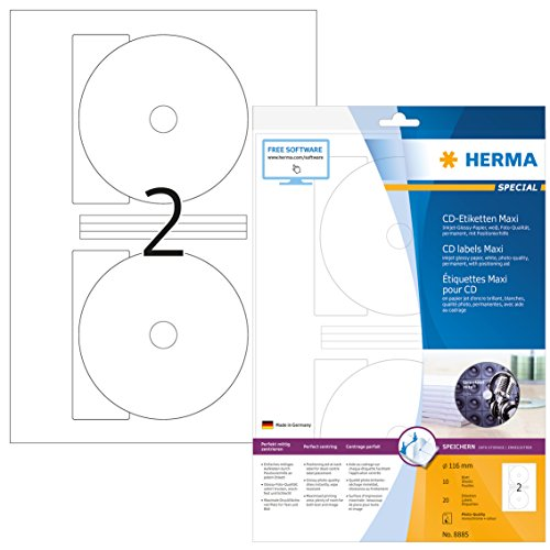 Herma 8885 Tintenstrahldrucker CD Etiketten Foto-Qualität glossy (Ø 116 mm, Innenloch klein) weiß, 20 Aufkleber, 10 Blatt DIN A4 Papier glänzend, Zentrierhilfe, bedruckbar, selbstklebend