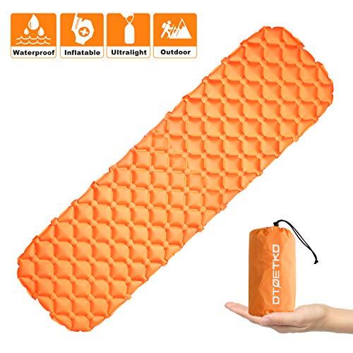 DTOETKD Aufblasbare Isomatte Ultraleicht, Kompakt Kleines Packmaß Camping Isomatte Bequem Luftmatratze - Outdoor Schlafmatte für Camping Wandern Backpacking Reisen Strand (C Farbe - Orange)