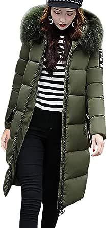 OranDesigne Donna Invernali Giacca Lungo Caldo Cappotto con Cappuccio Collo di Pelliccia Casual Eleganti Piumino Parka Trench Coat Outwear