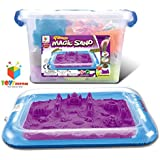 Toys Bhoomi Easy to Store 2KG Magic Sand Beach Toy Set with Inflatable Sandbox, Storage Bucket & Molds - 100% Safe Gluten-Free