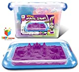 #9: Toys Bhoomi Easy to store 2KG Magic Sand Beach Toy Set with Inflatable Sandbox, Storage Bucket & Molds - 100% Safe Gluten-Free