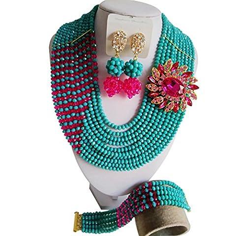 Laanc élégant Monochrome Mode Bijoux 10rangs Paon Vert et rose vif Cristal du Nigeria Mariage africain Perles Cristal Bijoux Définit A00061