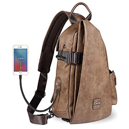Leder Herrentaschen Brusttasche Schultertasche Sling Bag Crossbody Rucksack Mit USB Ladeanschluss Kopfhörer Loch Für Damen Herren Outdoor Sport Gym Wandern Radfahren