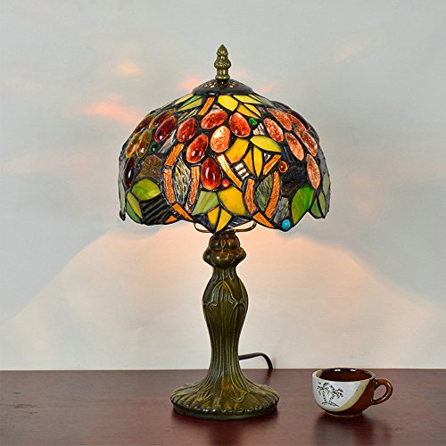 Frideko Vintage Tiffany Diameter 20CM Lampshade Bedside Table Lamp For Bedroom Bar Cafe Restaurant Type P
