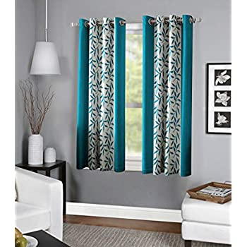 RD TREND Polyester Window Curtain 4 x 5 feet-Set of 2 (Aqua, 4 x 5)