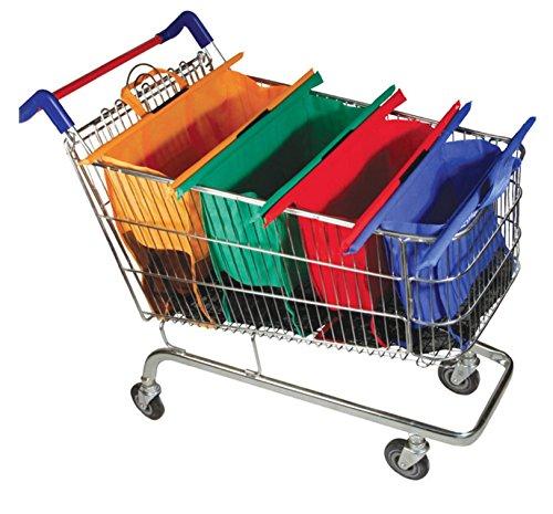 Einkaufstasche für Einkaufswagen - 4-in-1 Set Einkaufsbeutel faltbar die im Wagen gestellt werden