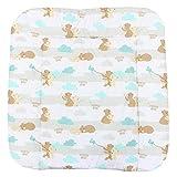 TupTam Baby Wickeltischauflage mit Baumwollbezug Gemustert, Farbe: Mama Bär Mintgrün, Größe: 75 x 85 cm